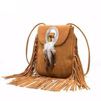 V2 Vintage Fringe Bohemian Crossbody Bag Purse with Tassels - 50% Off Today
