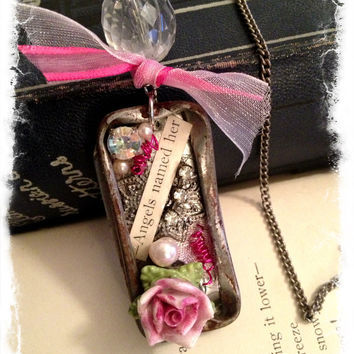 Antiqued tin Shadow box Pendant Necklace by SavedByGrace1970