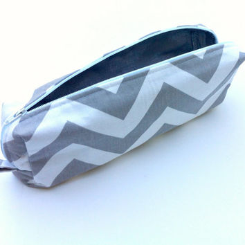 Chevron Pencil Case / Cosmetic Case - Grey and White