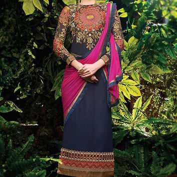 Blue and Pink Embroidered Straight Cut Suit