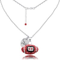 Alabama Crimson Tide Sterling Silver and Czech Crystal Football Necklace