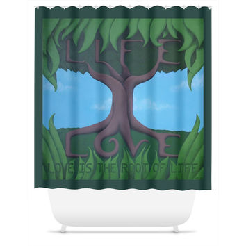 Love is the Root of Life - Shower Curtain of Acrylic Paint Fine Art