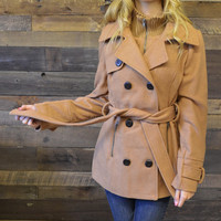 Woodside Camel Belted Trench Peacoat