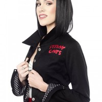 "WOMEN'S ""STRAY CATS"" EISENHOWER JACKET BY SOURPUSS CLOTHING (BLACK)"