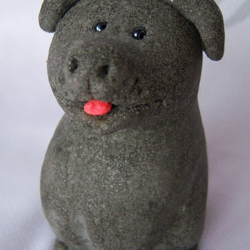 Cute doggy. Decorative figurine. Made from salt dough. Handmade. FREE SHIPPING!