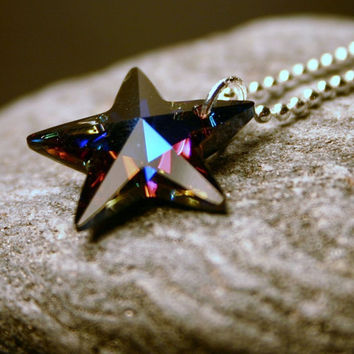 ALMOST GONE Colorblind ... Rare Heliotrope Swarovski Crystal Star on Sterling Silver ... Necklace ... Deep Purple Rainbow - Gift Under 30