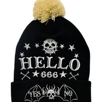 Gothic Punk Rock Emo Dark Magic Ouija Skull Embroidered Pom Pom Beanie Hat
