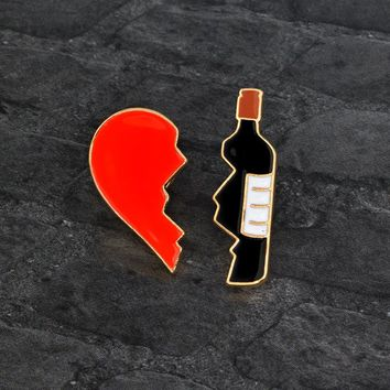 Broken Heart Bottle Brooch set 2 PCS Red Black Enamel Metal Pin Button Fashion Cartoon Brooch for Jacket Backpack Pins Badge