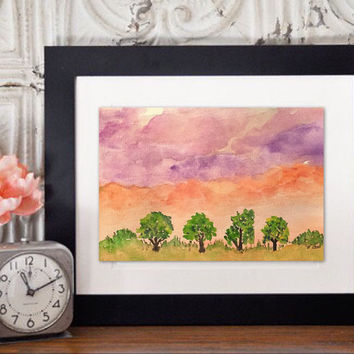 Watercolor sunset Painting, Pink nursery art print,  Original Landscape, Pink painting print, Whimsical art, Boho painting, Tree painting