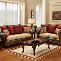 2 Pc. Banstead Classic Style Camel and Espresso Leatherette Sofa Set - Made In The USA