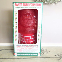 Santa Tree Fountain Retro Christmas Santa Claus Collection Plastic Santa Vintage Christmas Christmas Decor