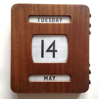 Vintage bank calendar, wooden, stained wood, cloth, winding mechanisms, wall hanging, home decor, art deco
