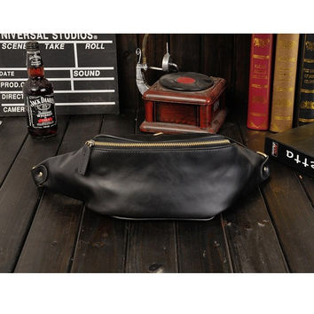 Men Vintage Casual Waist Bag Leisure Retro Outdoor Chest Bag