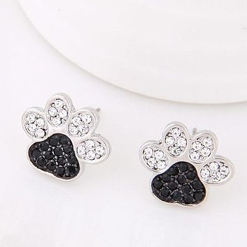 Silver Jewelry crystal Dog paw Stud Earrings Animal earrings For Women