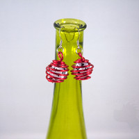 Wire Wrapped mini D20 Earrings - Red and White
