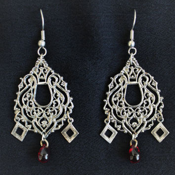 Handmade Boho Hippie Chandelier Earrings With Red Teardrop Bead Accent In Antique Silver Tone