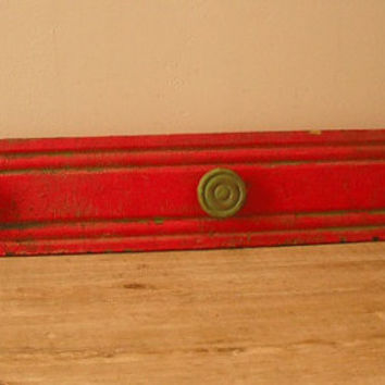 Vintage Upcycled Primitive original  RED painted wooden remnant turned Coat rack Peg rack Wall hanging Drying rack