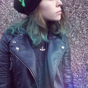 Grunge Knitted UFO Alien Hat, Slouchy Hat, Black And Green.