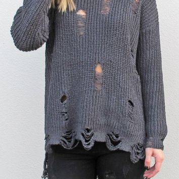 Distressed Date Night Sweater {Charcoal}