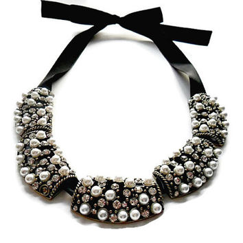 Beadwork ribbon necklace, Bib neckace, Black ribbon necklace, Pearl necklace, Black and white necklace, Gift ideas for her, UK seller