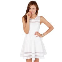 White Sleeveless Mesh Overlay Skater Mini Dress