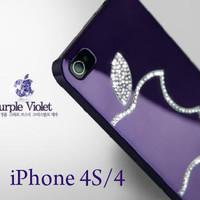 Purple violet Luxury Diamond Crystal Hard Case Cover For Apple iphone 4 4G 4S