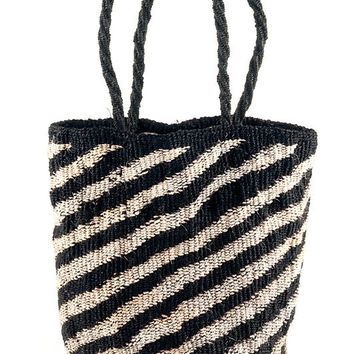Black and White Diagonal Stripe Sisal Tote Bag