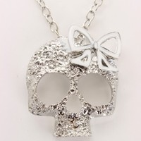 White Skull Carved Bow Top Chain Link Necklace