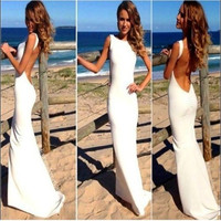 Hot Sale European Party Dress Sexy Backless White Long One-piece Dress = 1958375300