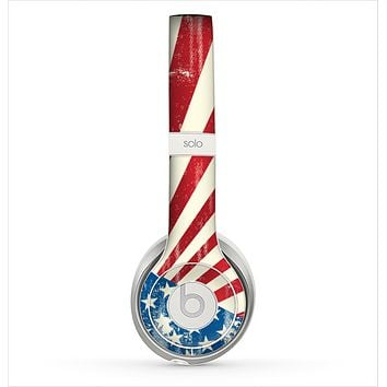 The Vintage Tan American Flag Skin for the Beats by Dre Solo 2 Headphones