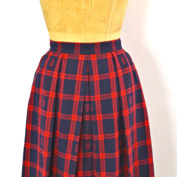 ON SALE PREPPY Plaid Skirt: Tartan Plaid Skirt // Plaid Midi Skirt // Midi Wool Skirt // Plaid Skirt // Preppy Punk // Chaus // Equestrian