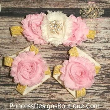 Pink, Cream, and Gold Rhinestone Headband and Barefoot Sandals Set