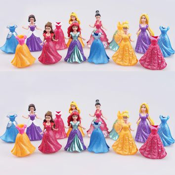 Disney Long Cinderella Snow White Dress Up Detachable dolls Princess 8cm Girl toys Kids ornaments gift  14PCS/ Set