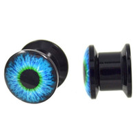 Pair of Blue, Black & Green Eyeball Logo Screw-On Acrylic Plugs (00 Gauge - 00G 10mm)