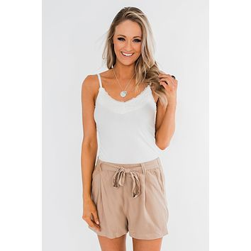 Pulse Basics Lace Trimmed Tank Top- Ivory