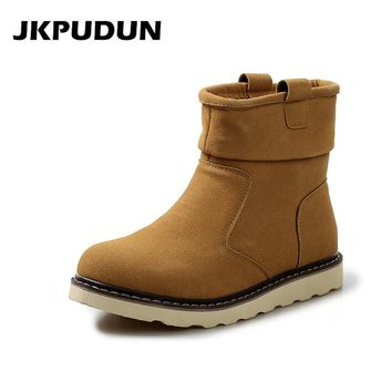 JKPUDUN Male Chelsea Boots Winter Super Warm Snow Boots Men Luxury Brand Fashion Boots For Men Casual Shoes 2017 Ankle Boots Bot