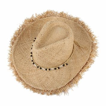 Vintage Raffia Straw Hats Floppy Wide Large Sun Hat Fashion Fringe Shells Beads Beach Hats Panama Summer Hat For Women
