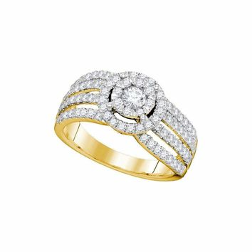 14kt Yellow Gold Women's Round Diamond Solitaire Halo Strand Bridal Wedding Engagement Ring 1.00 Cttw - FREE Shipping (USA/CAN)