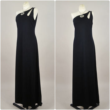 1970s black jersey one shoulder draped minimalist avant garde disco grecian goddess maxi dress vintage