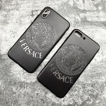 Black VERSACE Case For iPhone 6 6s 6plus 6s-plus 7 7plus iphone 8 iphone X XS Max XR