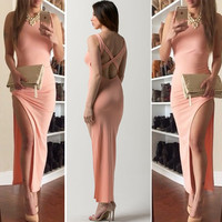 Pink Cross Strappy Back Thigh Slit Maxi Dress