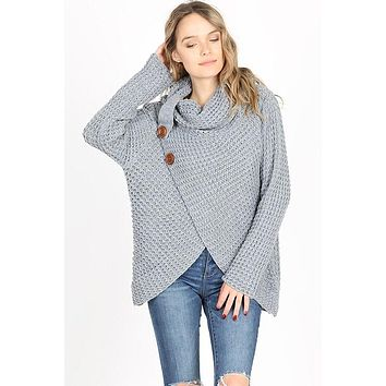 Cool Night Criss Cross Sweater -  Heather Gray