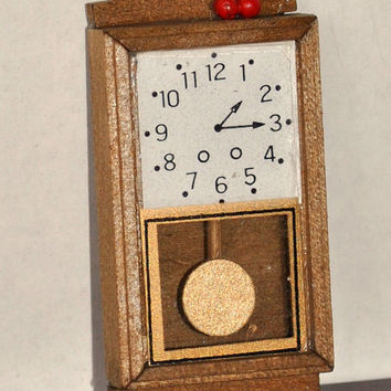 Dollhouse Miniature Wood Wall Pendulum Clock, Vintage Dollhouse Enesco Brown Wooden Clock