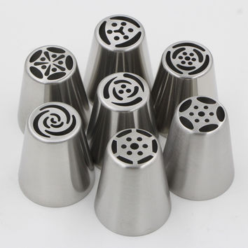 7pcs Stainless Steel Fondant Cupcake Icing Piping Tips Set Russian Pastry Nozzles Rose Tulip Shaped Cake Decorating Tools