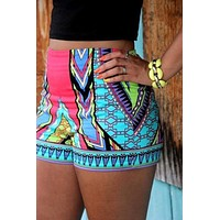 Geometric Print Elastic Shorts Women Summer Style Beach ethnic Shorts Boho Bermuda
