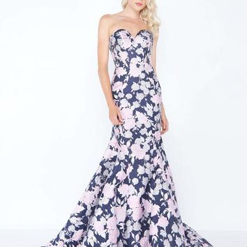 Mac Duggal - 66442M Strapless Floral Print Mikado Evening Gown