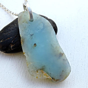 big Peruvian Opal pendant, Andean Opal necklace, Raw Opal nugget pendant, Blue Opal pendant, Rough Opal pendant, Raw crystal pendant mens