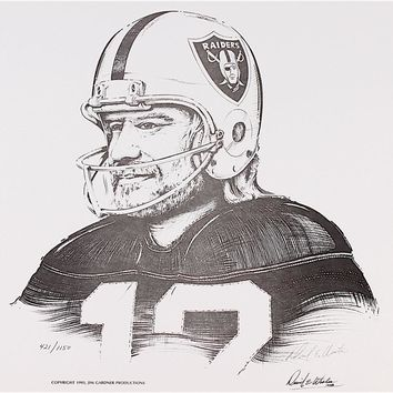 "Ken Stabler Raiders Limited Edition 17"" x 14"" Lithograph Signed by Artist Daniel E. Wooten #/415 (Stabler LOA) Unframed"