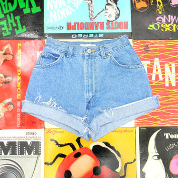 High Waisted Denim Shorts - 90s Ultra Light Wash Blue Jean Shorts - Frayed, Rolled Up, Naturally Distressed Shorts Size 0 00 Extra Small XS