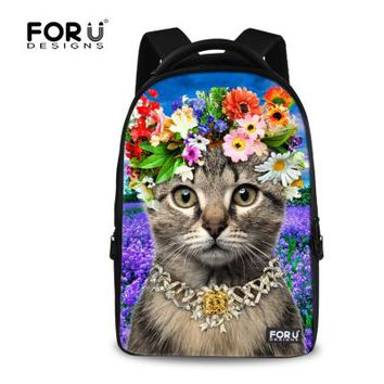 University College Backpack Large  Student Girls Laptop  Mochila 3D Animal Flower Cat Printing  for Children  Travel RucksackAT_63_4